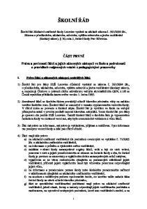 ŠKOLNÍ ÁD ÁST PRVNÍ. Práva a povinnosti žák a jejich zákonných zástupc ve škole a podrobnosti o pravidlech vzájemných vztah s pedagogickými pracovníky