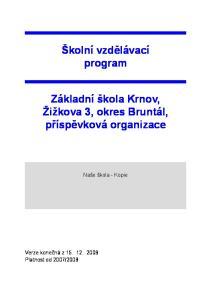 Školní vzdělávací program Základní škola Krnov, Žižkova 3, okres Bruntál, příspěvková organizace