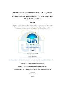KOMPETENSI GURU DALAM PERSPEKTIF AL-QUR AN (KAJIAN TAFSIR SURAT AL-NAHL AYAT DAN SURAT AR-RAHMAN AYAT 1-4 ) Skripsi