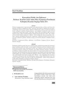 Komunikasi Politik dan Diplomasi Berbasis Kearifan Lokal dalam Masa Kampanye Pemilukada Kabupaten Kuantan Singingi Tahun 2011