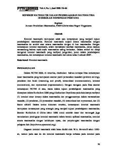 KONEKSI MATEMATIK DALAM PEMBELAJARAN MATEMATIKA DI SEKOLAH MENENGAH PERTAMA. Sugiman Jurusan Pendidikan Matematika, FMIPAUniversitas Negeri Yogyakarta