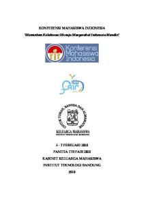 KONFERENSI MAHASISWA INDONESIA. Momentum Kolaborasi Menuju Masyarakat Indonesia Mandiri