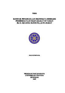 KONFLIK PENGELOLAAN EKOWISATA BERBASIS PEMBERDAYAAN MASYARAKAT DI TAMAN IR. H. DJUANDA BANDUNG, JAWA BARAT