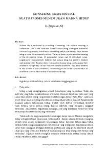 KONSELING EKSISTENSIAL: SUATU PROSES MENEMUKAN MAKNA HIDUP. Y. Triyono, SJ