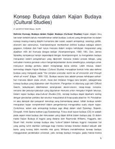 Konsep Budaya dalam Kajian Budaya (Cultural Studies)
