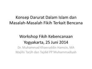 Konsep Darurat Dalam Islam dan Masalah-Masalah Fikih Terkait Bencana