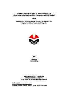 KONSEP PENDIDIKAN K.H. AHMAD DAHLAN (Studi pada buku Pelajaran KHA Dahlan karya KRH. Hadjid)