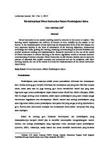 Kontektualisasi Direct Instruction Dalam Pembelajaran Sains