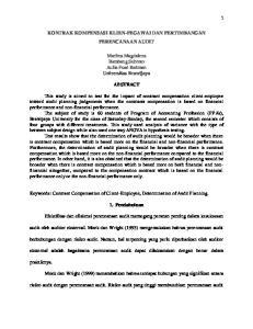 KONTRAK KOMPENSASI KLIEN-PEGAWAI DAN PERTIMBANGAN PERENCANAAN AUDIT. Marlina Magdalena Bambang Subroto Aulia Fuad Rahman Universitas Brawijaya