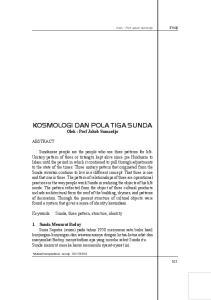 KOSMOLOGI DAN POLA TIGA SUNDA Oleh : Prof Jakob Sumardjo