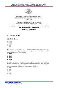 KOTA TAHUN 2011 BIDANG STUDI MATEMATIKA WAKTU : 150 MENIT