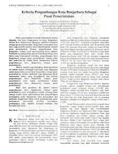 Kriteria Pengembangan Kota Banjarbaru Sebagai Pusat Pemerintahan