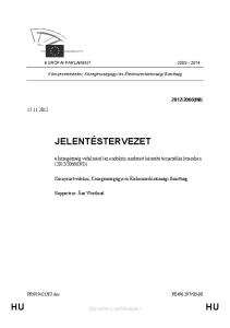 Környezetvédelmi, Közegészségügyi és Élelmiszerbiztonsági Bizottság JELENTÉSTERVEZET