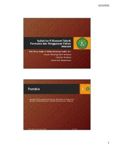 Kuliah ke-5 Ekonomi Teknik Formulasi dan Penggunaan Faktor Interest. Prof. Dr.oec.troph. Ir. Krishna Purnawan Candra, M.S