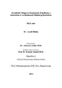 Kvantitatív Mágneses Rezonanciás Képalkotás a kutatásban és az alkalmazott klinikai gyakorlatban. Ph.D. tézis. Dr. Aradi Mihály