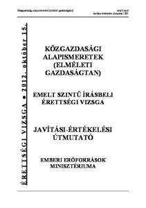 KÖZGAZDASÁGI ALAPISMERETEK (ELMÉLETI GAZDASÁGTAN)