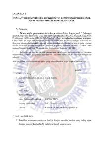 LAMPIRAN 1 PENGANTAR DAN PETUNJUK PENGISIAN TES KOMPETENSI PROFESIONAL GURU PEMBIMBING BERDASARKAN SKAKK