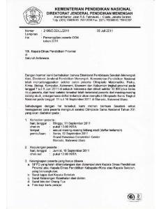LAMPIRAN I PESERTA OLIMPIADE SAINS NASIONAL 2011 BIDANG STUDI MATEMATIKA