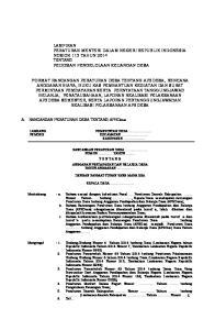 LAMPIRAN PERATURAN MENTERI DALAM NEGERI REPUBLIK INDONESIA NOMOR 113 TAHUN 2014 TENTANG PEDOMAN PENGELOLAAN KEUANGAN DESA