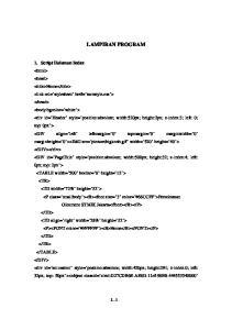 LAMPIRAN PROGRAM 1. Script Halaman Index