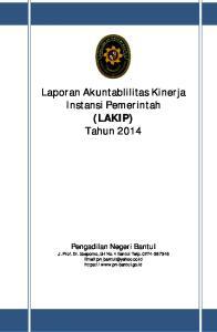 Laporan Akuntablilitas Kinerja Instansi Pemerintah (LAKIP) Tahun 2014
