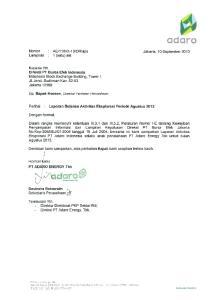 LAPORAN BULANAN AKTIVITAS EKSPLORASI PT ADARO ENERGY Tbk AGUSTUS 2013