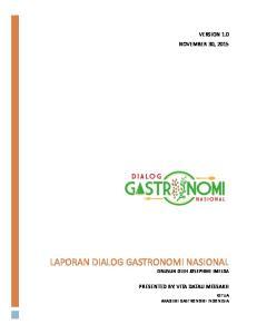 Laporan Dialog Gastronomi Nasional Disusun Oleh Josephine Imelda