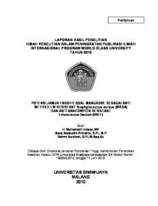 LAPORAN HASIL PENELITIAN HIBAH PENELITIAN DALAM PENINGKATAN PUBLIKASI ILMIAH INTERNASIONAL PROGRAM WORLD CLASS UNIVERSITY TAHUN 2010