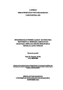LAPORAN HIBAH PENELITIAN TIM PASCASARJANA TAHUN KETIGA (III)