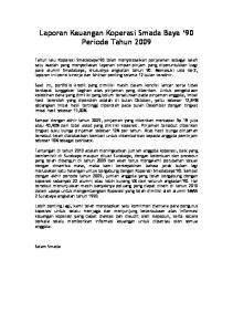 Laporan Keuangan Koperasi Smada Baya 90 Periode Tahun 2009