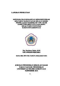LAPORAN PENELITIAN. Dra. Martianty Nalole, M.Pd NIP DANA RBA FIP UNG TAHUN ANGGARAN 2014