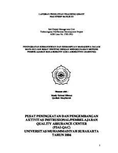 LAPORAN PENELITIAN TEACHING GRANT P3AI-TPSDP BATCH III
