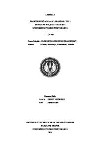 LAPORAN PRAKTIK PENGALAMAN LAPANGAN ( PPL ) SEMESTER KHUSUS TAHUN 2014 UNIVERSITAS NEGERI YOGYAKARTA LOKASI