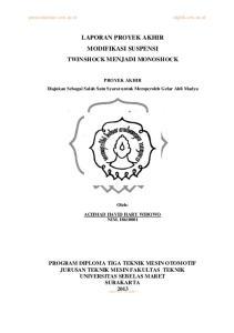 LAPORAN PROYEK AKHIR MODIFIKASI SUSPENSI TWINSHOCK MENJADI MONOSHOCK
