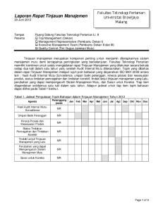 Laporan Rapat Tinjauan Manajemen 20 Juni 2012