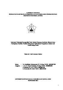 LAPORAN TAHUNAN PENELITIAN MASTER PLAN PERCEPATAN DAN PERLUASAN PEMBANGUNAN EKONOMI INDONESIA (MP3EI)