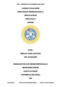 LAPORAN TUGAS AKHIR PENELUSURAN INFORMASI DIGITAL PENELUSURAN INFORMASI DIGITAL... DENGAN SUBYEK MINAT BACA (E-BOOK)
