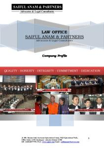 LAW OFFICE SAIFUL ANAM & PARTNERS Advocates & Legal Consultants