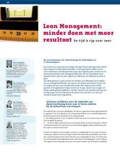 Lean Management: minder doen met meer resultaat De tijd is rijp voor Lean