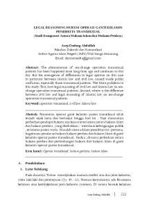 LEGAL REASONING HUKUM OPERASI GANTI KELAMIN PENDERITA TRANSEKSUAL (Studi Komparasi Antara Hukum Islam dan Hukum Perdata)