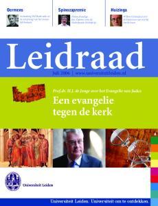 Leidraad. Een evangelie tegen de kerk. Juli Universiteit Leiden. Universiteit om te ontdekken