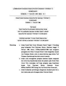 LEMBARAN DAERAH KABUPATEN DAERAH TINGKAT II SUMEDANG NOMOR : 4 TAHUN 1989 SERI : B.2