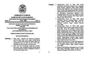 LEMBARAN DAERAH KABUPATEN GUNUNGKIDUL (Berita Resmi Pemerintah Kabupaten Gunungkidul) Nomor : 6 Tahun : 2006 Seri : E