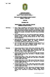 LEMBARAN DAERAH PROPINSI KALIMANTAN BARAT NOMOR 7 TAHUN 2003 SERI B NOMOR 1