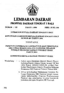 LEMBARAN DAERAH TENTANG PROPINSI DAERAH TINGKAT I BALI