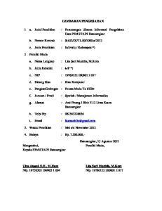 LEMBARAN PENGESAHAN. 1 a. Judul Penelitian : Perancangan Sistem Informasi Pengolahan Data P3M STAIN Batusangkar