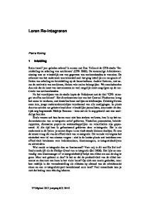 Leren Re-integreren. 1 Inleiding. Pierre Koning