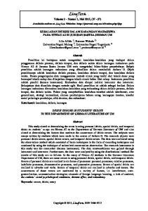 LingTera. Volume 2 Nomor 1, Mei 2015, (27-37) KESALAHAN DEIKSIS DALAM KARANGAN MAHASISWA PADA NIVEAU A2 DI JURUSAN SASTRA JERMAN UM