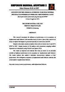 LOCUS OF CONTROL SEBAGAI ANTESEDEN HUBUNGAN KINERJA PEGAWAI DAN PENERIMAAN PERILAKU DISFUNGSIONAL AUDIT