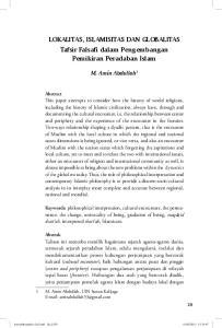 LOKALITAS, ISLAMISITAS DAN GLOBALITAS Tafsir Falsafi dalam Pengembangan Pemikiran Peradaban Islam